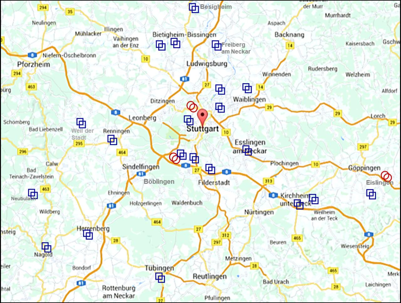 Region Stuttgart mit den SRRS-Clubs